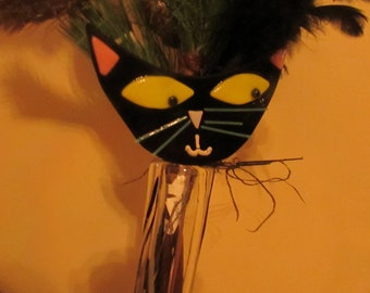 Fused glass whimsical black cat garden stake