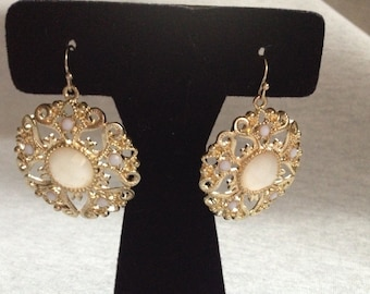 Vintage Costume Goldtone with White Plastic Inset Bead Dangle Earrings