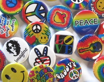 24 Groovy Button Pack - Colorful Hippie Peace Heart Happy Pins 24 Pin Pack of 1.25 inch Quality Pin-Back Badges