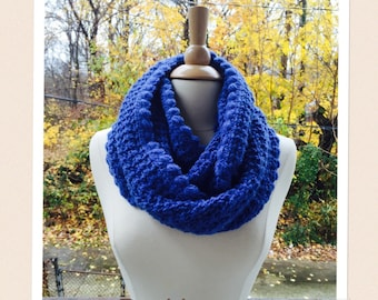 PDF Pattern Crochet Scarf Cowl Neckwarmer An Autumns Day Crocheted Cowl Infinity Scarf in Blue