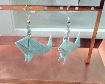 Origami earrings in the shape of blue and white fish and assorted beads