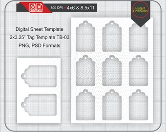 """2x3.25"""" Gift Tag Template Instand Download, With Clipping Mask, Make Your Own Template Png and Psd Formats, Transparent Background"""