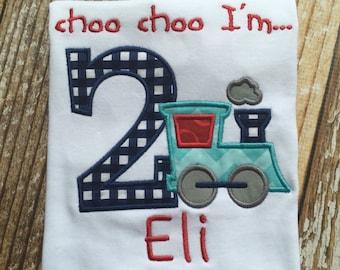 Choo choo I'm 2 appliqued birthday shirt