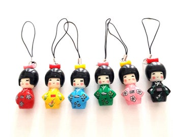 Japanese Kokeshi wooden charms for jewelry making, size 4 cm