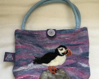 Wet felted mini handbag with needled felted puffin decoration