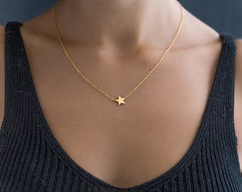Star Necklace - Gold Star Necklace - Little Star with 14k Gold Filled - Dainty Necklace - Minimal Necklace - Charm Necklace - 925 Silver