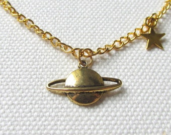 Saturn Necklace Gold Planet Necklace Space Jewelry Quirky Charm Necklace
