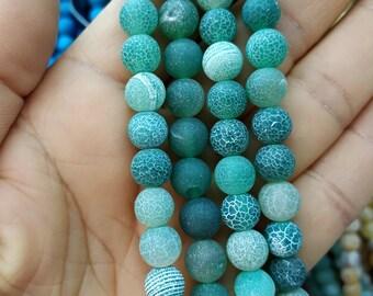 Matte Forest Green Agate,Matte Dark Green stone 8mm Round Beads- 47pcs/Strand