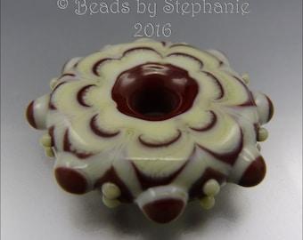 LAMPWORK MANDALA/DISK Bead – Ivory & Mahogany - Handmade Jewelry Supplies - by Stephanie Gough sra fhfteam leteam