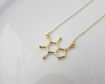Caffeine Molecule Necklace, Gold Caffeine Necklace, Science Necklace, UK Seller, Coffee Lover Gift, Geekery Necklace, Science Gifts