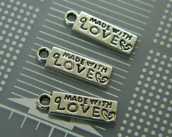 """Silver Tone """"Made With Love"""" Findings Chain Tab - Metal Alloy Necklace Tab- 17x5mm - 3 Tab Beads Per Order"""