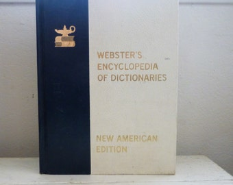 Webster's Encyclopedia of Dictionaries, webster's dictionary, large book, hardcover book, blue and white cover, college gift, graduation
