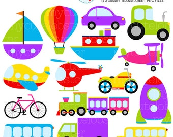 Transport Clipart Set - clip art set of transportation, vehicles, rainbow transport - personal use, small commercial use, instant download
