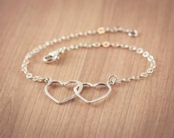 Silver  Two Open Heart Bracelet, Two Sister heart, Sterling Silver Heart Jewelry, Friendship Bracelet Gift, Sweetheart , Mom