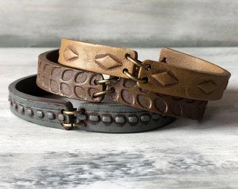 Cement Coffee and Siena Cuff Bracelet trio, Contemporary Handmade Author Jewelry