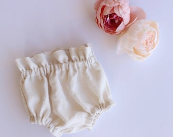 Linen Baby Bloomers Ivory - Linen Toddler Bloomers - High Waisted Bloomers - Natural Baby Clothing - Linen Diaper Cover - High Waisted Short