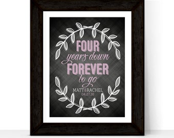 Personalized 4th wedding anniversary gift for him, her, couple | 4 year anniversary gift for husband, wife | Four Years Down Forever to go