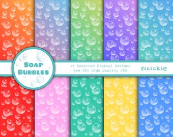 Bubbles Digital Scrapbooking Paper - Bubbles Digital Paper - Rainbow Scrapbook Paper - Instant Download - Commercial Use CU