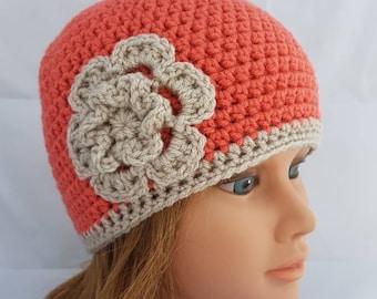 womens crochet hat, woman hat, girls crochet hat, beanie, vegan friendly hat, hat with flower, girl beanie, orange beanie, flower beanie