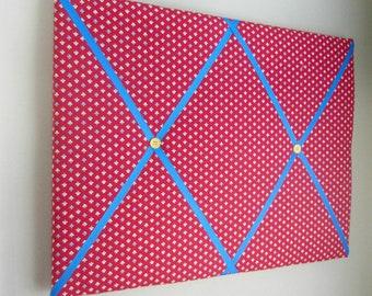 "16""x20"" Trefoil Ticking Red Memory Board Bow Holder Ribbon Board, Photo Display, Business Card Holder, Vision Board, Memo Board, Ribbon"