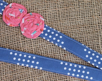 Lanyard - Navy Blue Dot Stripe with Coral Arrow Print Flowers