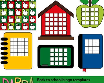 Back to school clipart bingo templates download / bingo game template clip art commercial use
