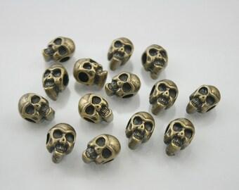 10 pcs.Zinc Antique Brass Skull Head Beads Charms Pendants Decorations Findings 9 mm. RCSK