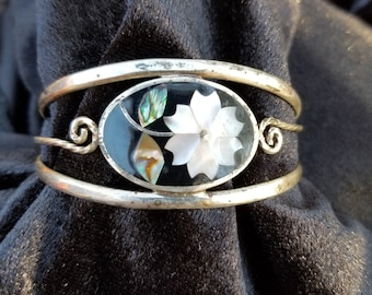 Mexican Silver Abalone Flower Inlay
