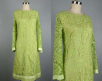 Vintage 1960s Dress 60s Lemongrass Lace Shift Dress with Bell Sleeves by Carol Craig SIze