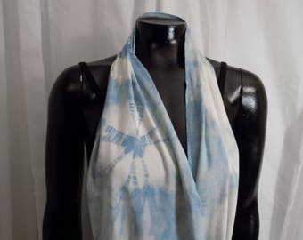 Eco Dyed Blue Jersey Infinity Scarf with Indigo