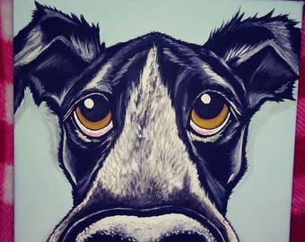 Custom Pet Portrait Painting 8x8 dog cat , pet memorial, gift idea, pet loss, personalized