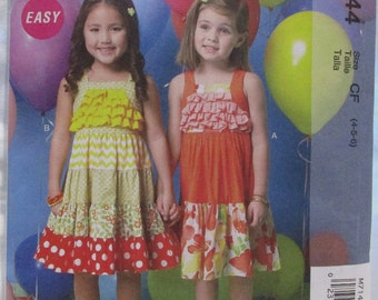 McCalls Pattern M7144. Sizes 5-6. Toddlers Childrens. Ruffled Tiered Dresses.  Uncut. 2015. USA.