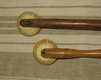 Antique Pair French Pastry Cutters....Bone Cutting Wheels...19th Century