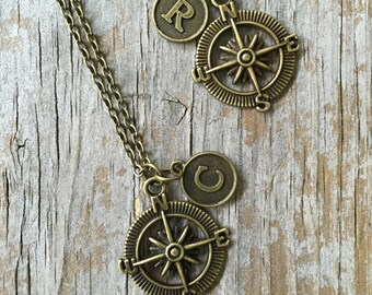 Compass BFF 2 Necklaces /Bronze Compass/ Compass BFF Choker/ Double Compass  Necklaces/ Best Friends/ Distance Gift Travel Gift/ Nautical