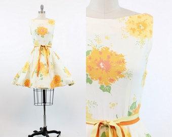 50s Dress Silk Jerry Gilden XS / 1950s Cotton Pique Sun Dress  /  Flowers and Ivy Dress