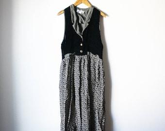vintage carol anderson velvet sleeveless vest skirt dress 80s 90s