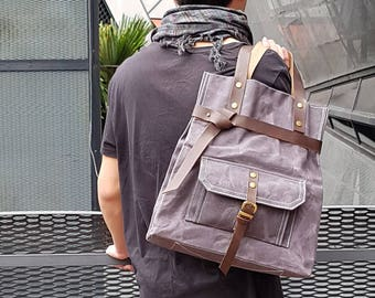 Genuine Leather Waterproof Waxed Canvas Tall Tote, Fashionable Tote, Double Strap Shoulder Bag, Waterproof Tote, Unisex Tote, Men's Tote