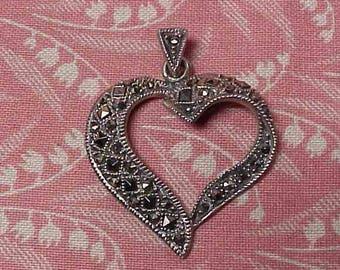 Vintage 925 Sterling and Marcasite Heart Necklace Pendant