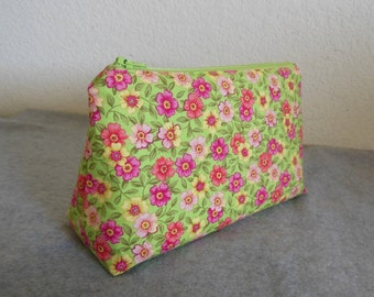 Cosmetic Bag - Pink Floral on Green