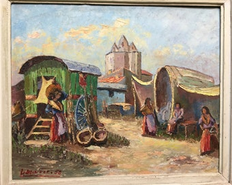 French 1950s oil painting on cardboard, gipsy with caravans, vanners. South of France.