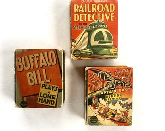 Big Little Books Buffalo Bill, Wash Tubbs, Railroad Detective 1930's Lot of 3
