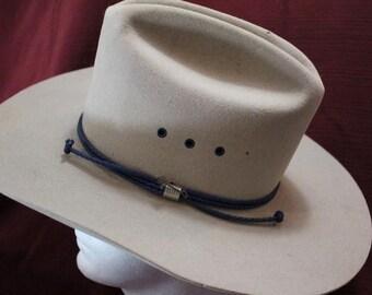 Vintage Stetson 4X Beaver Dee Picket  Silver Belly Fur Felt  Western Hat Red Hat Band Size 7 56 cm