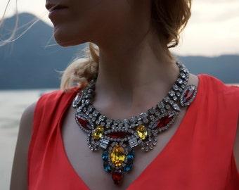 ULTIMATE SALE Rita - Vivid Swarovski Crystal Statement Necklace Ready to Ship