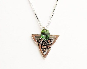 Celtic Knot Necklace, Irish Necklace, Celtic Necklace, Celtic Triquetra/Trinity/Triad with Swarovski Crystal  - on Sterling Silver Chain