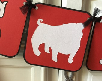 English Bulldog It's A Girl Banner, Red and Black GA Bulldog Banner, It's A Girl Banner, Baby Shower Banner