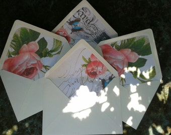 10/12 hammered or smooth ivory envelopes with vintage peach rose postcard liners,wedding stationary