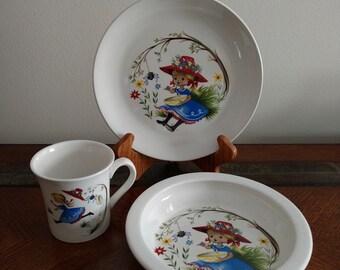 Vtg James Kent Old Foley Nursery Rhyme Little Miss Muffet Childs Mug Bowl and Plate 3 Piece Set England