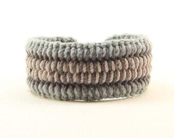 cool blue cotton bracelet interweave pattern cuff bracelet handcrafted one button cuff 4360