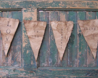 Canvas Bunting, Rustic Wedding Decor, Farmhouse Decor, Stamped Canvas Banner Wall Hanging, Wedding Shower Decor • Love is the sweetest thing