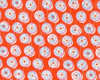 Trinket Spools in Orange by Melody Miller for Cotton and Steel - 1/2 Yard